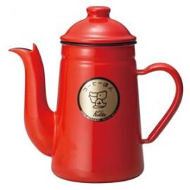 Kalita Enamel Coffee Pelican Kettle 1L Red