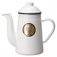 Kalita Enamel Coffee Pelican Kettle 1L White